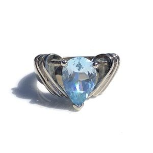 Vintage Sky Blue Topaz Sterling Silver Ring 7 Pear